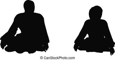 Business people sit cross-legged in silhouette - EPS 10 ...