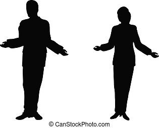 Business people standing up explaining - EPS 10 Vector....