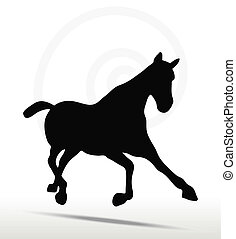 horse silhouette in Fast Trot position - EPS 10 Vector -...