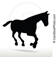 horse silhouette in Gallop position - EPS 10 Vector - horse...