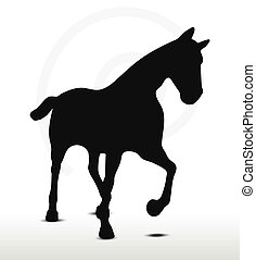 horse silhouette in Loping position - EPS 10 Vector - horse...