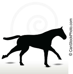 horse silhouette in running position - EPS 10 Vector - horse...