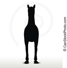 horse silhouette in standing still position - EPS 10 Vector...