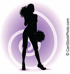 funky cheerleader silhouette - EPS 10 Vector illustration -...