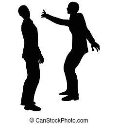 businessman slap - EPS 10 Vector illustration in silhouette...