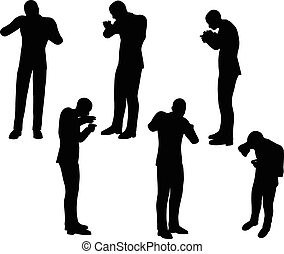 businessman standing eating - EPS 10 Vector illustration in...