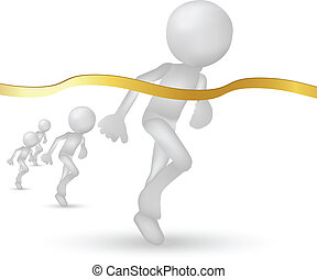 3d humans crossing the finishing line