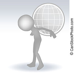 3d man carry globe on back