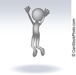 3d man jumping