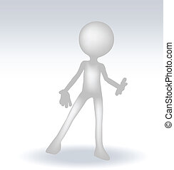 3d man standing hands open