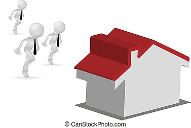 3d men running for a house or for the home