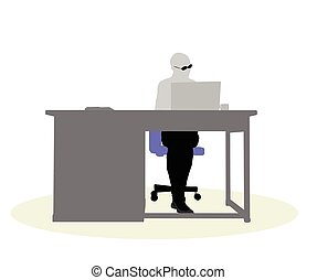 a business woman sitting at a desk