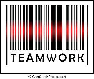 Bar Code icon and red laser sensor beam over teamwork - EPS...