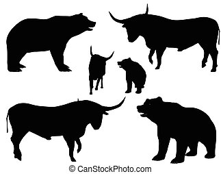 vector illustration of bear and bull silhouette