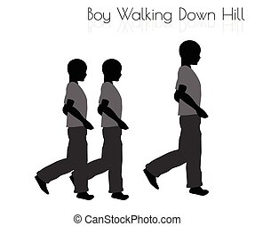 boy in Everyday Walking Down Hill pose on white background