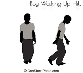 boy in Everyday Walking Up Hilll pose on white background
