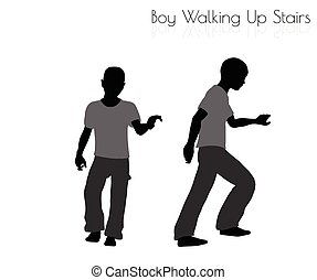 boy in Everyday Walking Up Stairs pose on white background -...