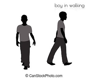 boy in walking pose on white background