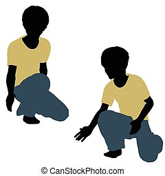boy silhouette in Playing Pose