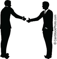 business handshake silhouette - EPS 10 Vector illustration...