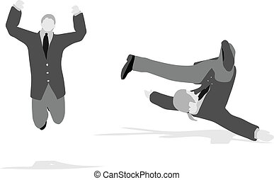 business man jumping and falling in the air