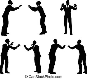 business man silhouette in push pose