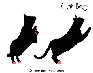 cat silhouette in Beg Pose