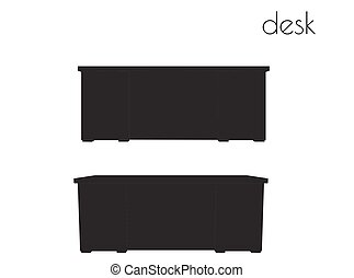 desk  silhouette on white background