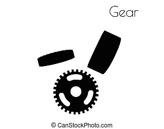 Gear silhouette on white background