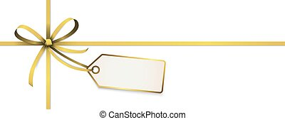 golden colored ribbon bow with hang tag