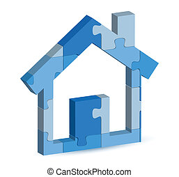 home icon in puzzle - EPS 10 Vector Illustration of home...