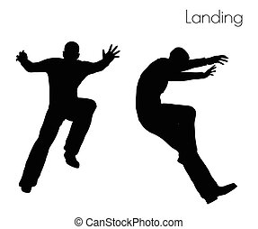 man in Landing Action pose - EPS 10 vector illustration of ...