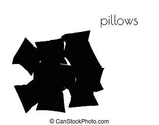 pillows silhouette on white background