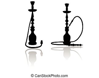 shisha silhouette on white background