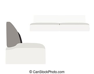 Sofa silhouette on white background