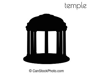 temple silhouette on white background