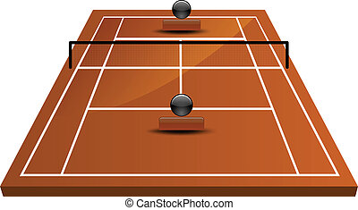 tennis court field in clay