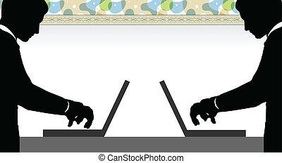 EPS 10 Vector illustration of two men two men on laptop pc - social media communication