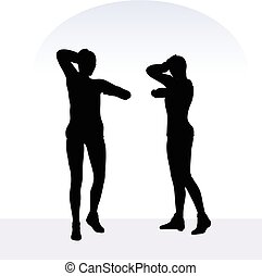 woman in anxious pose on white background - EPS 10 vector ...