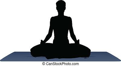 vector illustration of Yoga positions in Meditation pose - ...