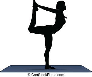 vector illustration of Yoga positions in The Dancers Pose