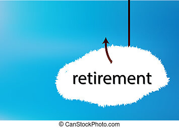 retirement text cloud on blue back ground - EPS 10 Vector...