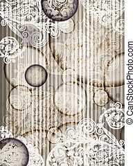 eps 10, vector invitation template with abstract floral pattern with grunge splashes and stripes