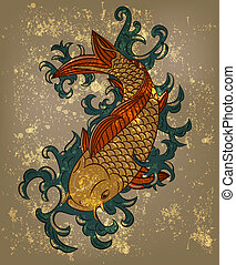 vector japanese koi carp fish on grungy background - eps 10,...
