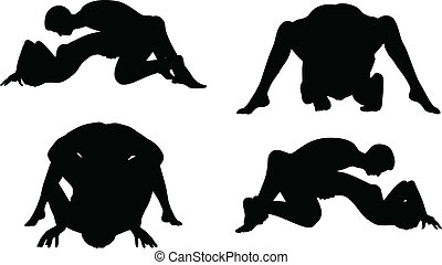 silhouette with kama sutra positions on white background -...
