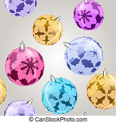 vector seamless pattern with shiny christmas balls