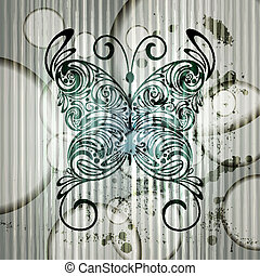 eps 10 vector vintage butterfly on grungy background with stripes and circles