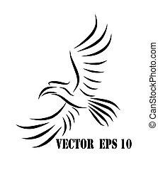 eps, 10, voler, logo, hornbill
