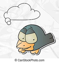EPS 8 crumpled paper background with vector bird