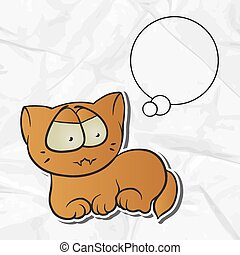 EPS 8 crumpled paper background with vector cat